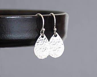 Small Teardrop Earrings in Sterling Silver, Pear Shaped Hammered Earrings, Classic Everyday Earrings
