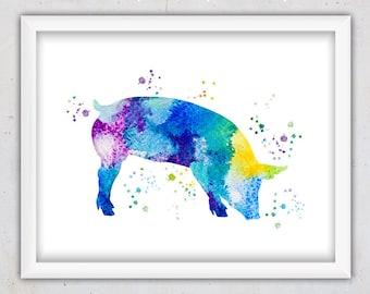 Pig Print, Digital Art Print, Watercolor Wall Art, Nursery Printable Art, Nursery Wall Art, Instant Download Animal Print, Kids Art, Blue