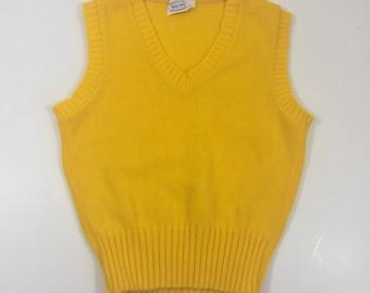 Kid's Vintage Sweater Vest - Size Medium Large - Yellow Sweater Vest - 70's Sweater Vest - Sleeveless Sweater - Yellow Jumper