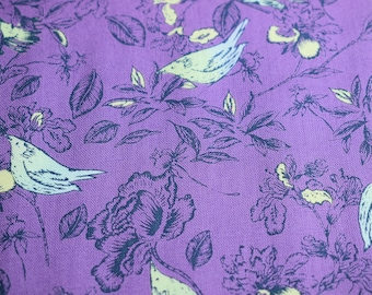 Bird fabric, floral fabric, quilting fabric, Makower fabric, purple fabric, cotton fabric,  flower fabric, fabric by the metre