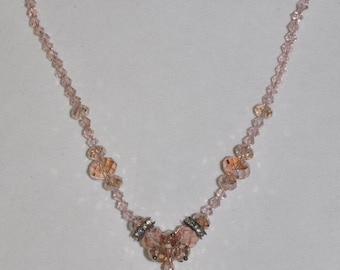 Necklace Peach Crystal #478 One Of A Kind