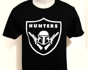 star wars boba fett bounty hunter los angeles la raiders inspired football t shirt black with white design