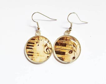 Music themed cabochon earrings
