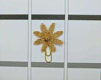 Brown Burlap Flower Mini Planner Clip