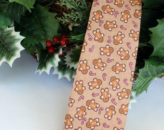 Mens Christmas Necktie - brown cotton Gingerbread Men and Candy Canes neckties, Self-Tying Neck Tie for Man and Teens, gifts for him,
