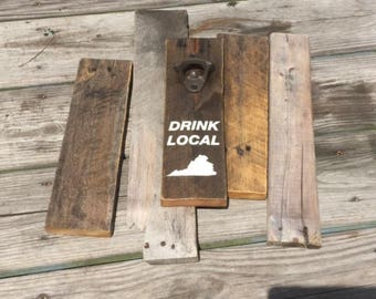 Bottle Opener with Drink local message and VA state outline