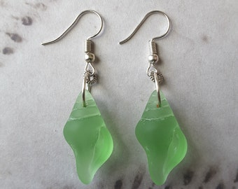 Earrings Light Green in Color Sea Glass Earrings Recycled Glass FREE Shipping