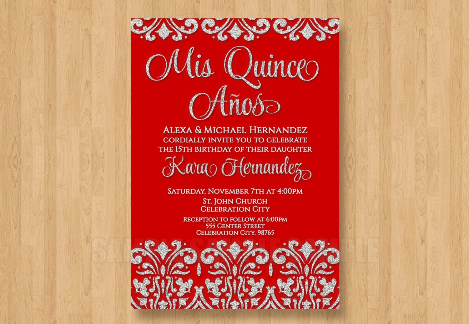 Red and Silver Glitter Bling Damask Quinceanera Invitations