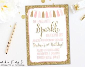She Leaves A Little Sparkle Wherever She Goes, Little Girl Invitation, Birthday, DIY Printable, Customizable Gold Glitter Invite w/ Tassel