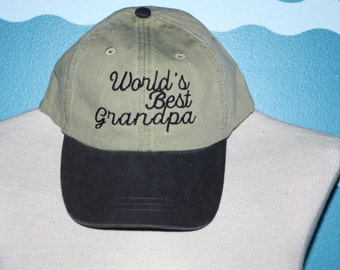 World's best grandpa baseball cap - grandpa ball cap - baseball hat for grandpa - custom embroidered hat