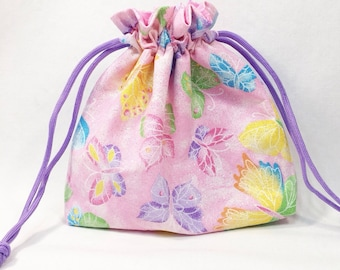 Sparkly Pink Butterfly Girls' Drawstring Bag/Pouch/Gifts for Girls/Springtime/Summertime Accessories/Free Shipping in US