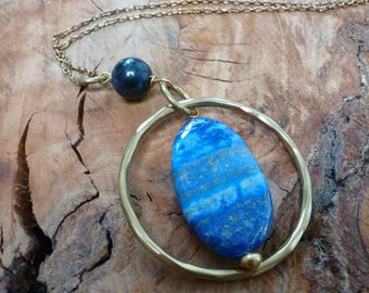 Statement Lapis Lazuli & Gold Hoop Pendant Necklace