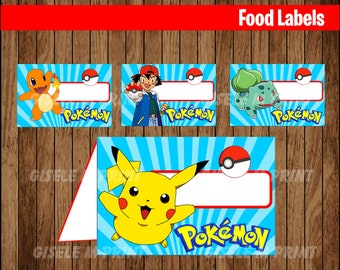 Pokemon Food Labels, Printable Pokemon food tent cards, Pokemon  party food cards instant download