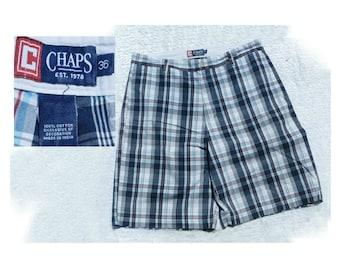 Summer shorts men -Men's plaid shorts - Vintage CHAPS by Ralph Lauren - Men's Bermuda Shorts - Cotton summer Shorts , size -36 shorts, # 8