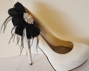 Wedding Shoe Clips, Feather Shoe Clips, Black Shoe Clips, White Shoe Clips, Clips for Wedding Shoes, Bridal Shoes, Designer ShoeClipsOnly