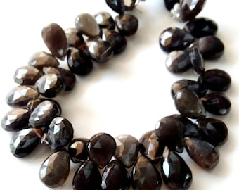 """ANDALUSITE faceted pear shaped beads ,9X11 mm to 11X16 mm 8"""" strand[E2111] faceted pear shaped beads"""