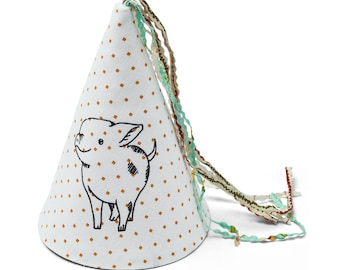 Little pig print fabric party hat