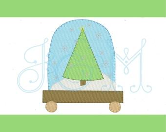 Christmas Tree Snow Globe Blanket Stitch Vintage Style Applique Machine Embroidery Design 5x7