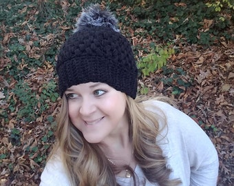 Crochet Puff Stitch Beanie,Faux Fur Pom Pom, Crochet Beanie, Puff Hats, Ribbed Band, Pom Pom, Winter, Christmas, Gift for her,Fall, Gifts