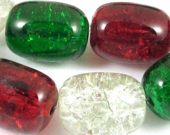 Barrel Glass Crackle Christmas Bead Set-RED, CLEAR & GREEN 12x16mm (15)