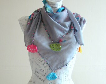 Summer scarf square cotton scarf cotton birthday gifts for her gray scarf pareo wrap beach pareo cotton pareo fashion scarf crochet edge