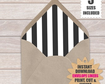 Black And White Stripe ENVELOPE LINERS  | European Style Printable Envelope Liners a9, a7, a6, a2 And 4 Bar Template
