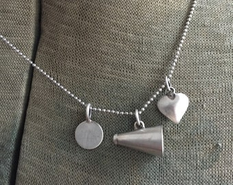 "Vintage Sterling Megaphone Cheerleader Personalized Cheer Charm Puffy Heart Necklace 16"" Chain Drill Team"