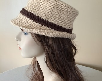 Adult Beige Fedora with Chocolate Band - Teen, Woman, Man - Bowler, Cloche, Bucket Hat