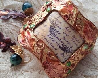 Dandelions Cuff, Acorn Cuff Bracelet, Mixed Media Cuff, Decoupaged Cuff, Brass Dandelion Wish Bracelet, Oak Leaves Cuff, Purple Cuff, SRAJD