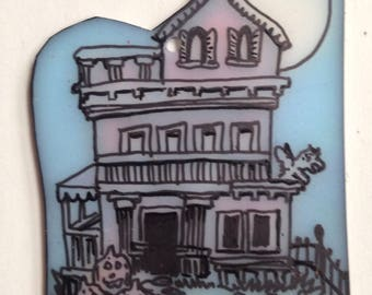Halloween Haunted house pin/pendant.