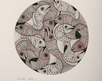 Fish in Ink, pencil and Watercolour - Print of Original