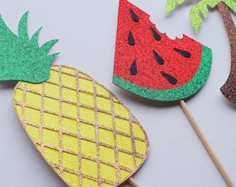 Tropical Photo Booth Props ; Pineapple Decor ; Summer Bachelorette Party ; Summer Decor ; Luau Decoration