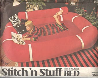 Butterick 0103 1970s Stitch N Stuff  Easy BED Pattern Vintage Furniture Sewing Pattern  Great for Childs Teens Rec Dorm Family  Room UNCUT