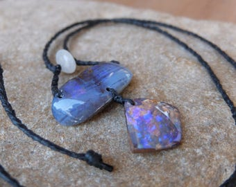 Boulder Opal, Quartz crystal necklace  - natural gem stone jewellery - macrame jewellery handmade in Australia