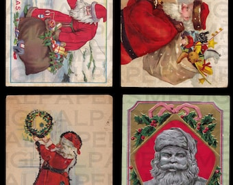 4 Four Antique Christmas Postcards. Early Santa Claus Scenes. 14 x 21. Digital Paper Scrapbooking Supplies Instant Download High Resolution