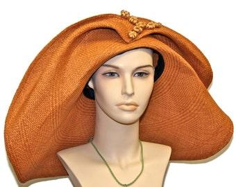 WIDE BRIM Tan Panama Straw Women's Hat,  Kentucky Derby Hat, Women's Summer Hat, Beach Wedding Hat