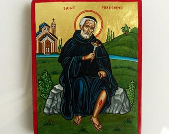Saint Peregrine The Wonderworker - miniature icon, 6 by 4 inches