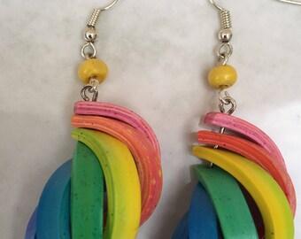 Multicolor polymer clay earrings / Rainbow earrings