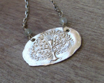 Fine Silver Tree of Life Necklace with Aquamarines, Artisan Nature Necklace, Tree Necklace