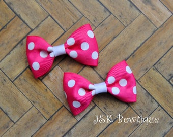Pink and white small hair bows, Mini Bows on clips, Pink with white dots hair bows, hair clips, bow set