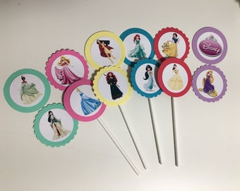Disney Princess Cupcake Toppers, Princess Cupcake Picks, Disney Princess Birthday