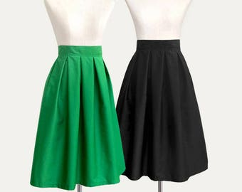 Cotton pleated midi skirt with pockets - custom size and length high waisted skirt in black blue navy green gray plum