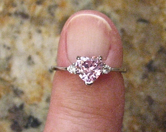 Vintage Pink CZ Heart Ring