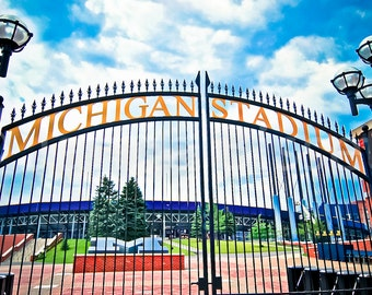 Michigan Stadium Gate University of Michigan Ann Arbor Fine Art Photograph on Metallic Paper