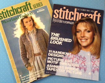 Stitchcraft Magazines - 1981 and 1983 Vintage Needlecraft Books - Retro Craft Magazines - Crochet Knitting Embroidery Sewing