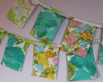 Fabric Banner Floral 3 1/2 ft Vintage Cloth Bunting Green Teal Spring Nursery Party