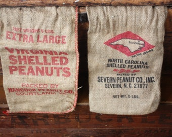 Pair Vintage Burlap Peanut Bags One North Carolina One Virginia