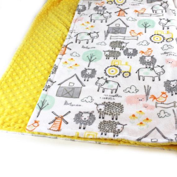 Farm Animal Minky Baby Blanket Personalized Baby Blanket, Gray Yellow Blanket, Nursery Decor, Animal Blanket, Baby Boy, kids minky blanket