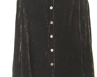 Brown Velvet Button-Up