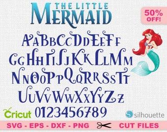 The Little Mermaid Font Svg, Little Mermaid Alphabet Svg, Ariel Font Svg, Disney font svg, Walt Disney font svg, Disney svg, Mermaid svg